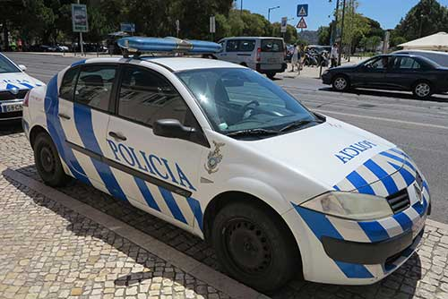 Police car in Lisbon.