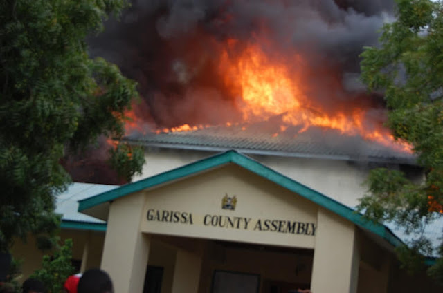 The Garissa county assembly chambers burning down photo