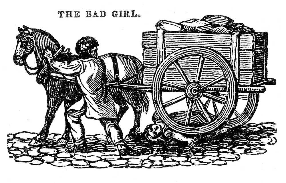 an 1860s children's book cautionary illustration, The Bad Girl