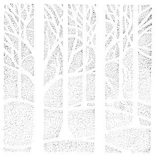 Birch tree wood pointillism