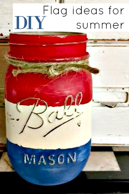 American flag Mason Jar for fresh flowers