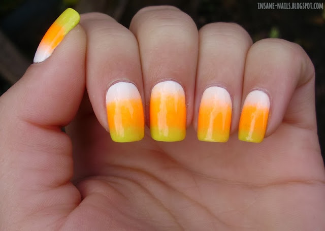 Halloween nail art challenge 2013 candy corn insanenails i started by painting my nails white golden rose paris 04 and then sponged with orange moment fluor 02 and yellow golden rose paris 209 prinsesfo Image collections