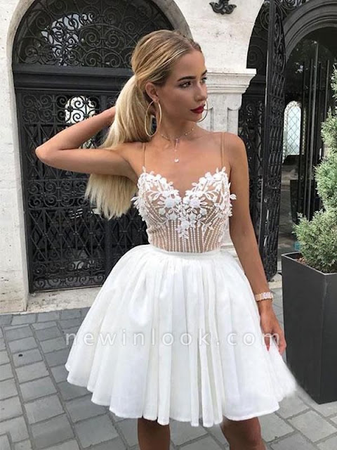 Hot White Chiffon Spaghetti-Straps Appliques Mini Dama Dress