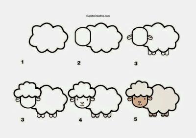 Cara menggambar hewan domba