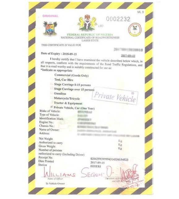 6 VERY Important Car Documents That FRSC/LASTMA Officers Look Out For