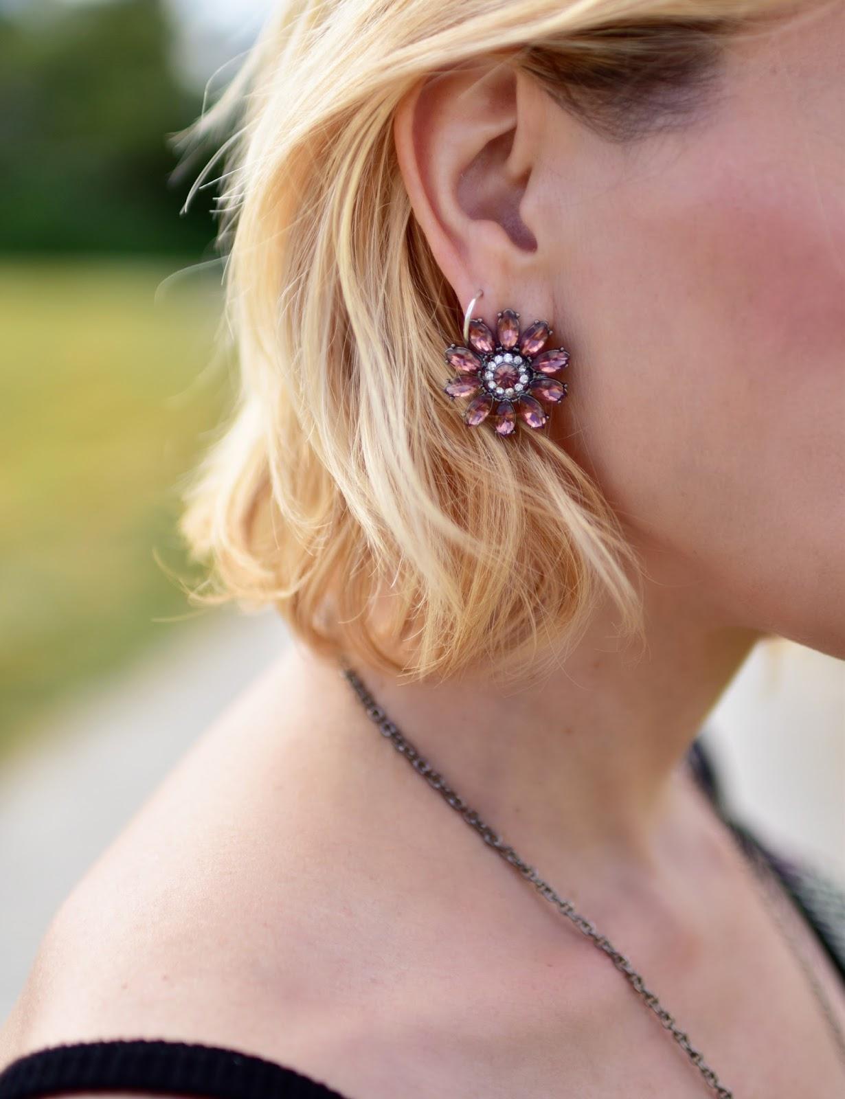 print crystal flower earring