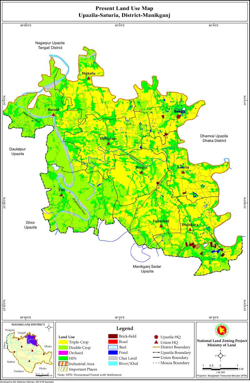 Saturia Upazila Mouza Map Manikganj District Bangladesh