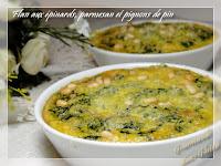 Flan aux épinards, parmesan et pignons de pin