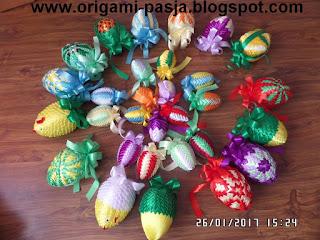 jajka, jajo, jajucho, wielkanoc, alleluja, karczoch, wstążka, fiolet, czerwień, niebieski, żółty, zielony, pomarańcz, rękodzieło, handmade, styropian, wstążka