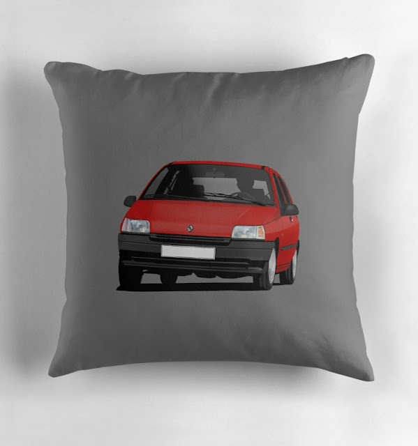 Redbubble Red Renault Clio illustration - pillow
