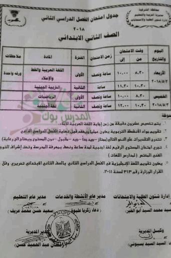 جدول امتحان الصف الثاني الأبتدائي آخر العام 2018