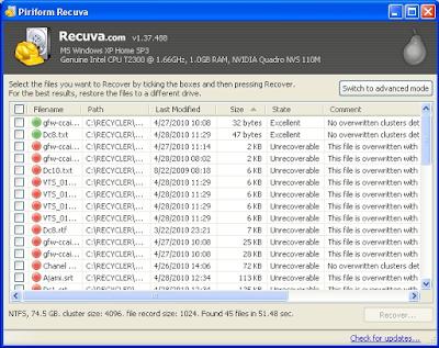 تحميل برنامج ريكوفا لاسترجاع الملفات المحذوفه مجانا Recuva
