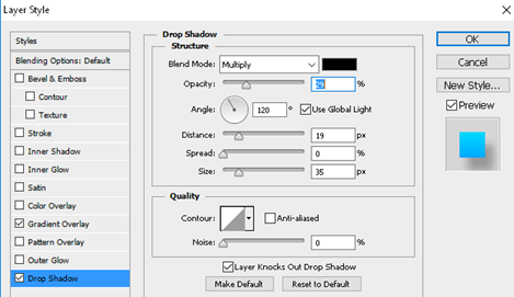 add shadow to the logo by activating Drop Shadow option in Photoshop.