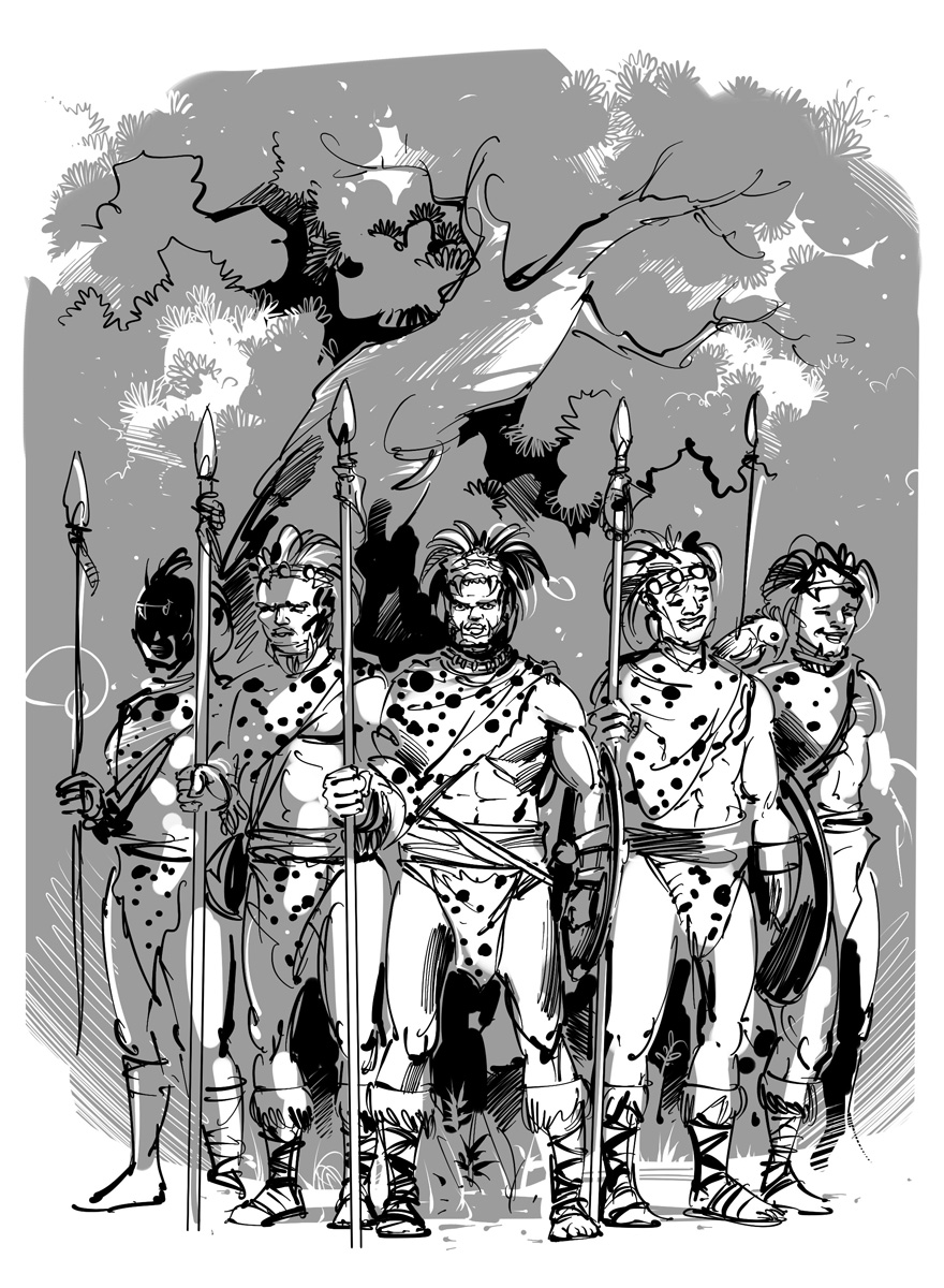 science fantasy novel illustration troupe of warrior tribes