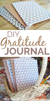 hand made gratitude journals in a basket