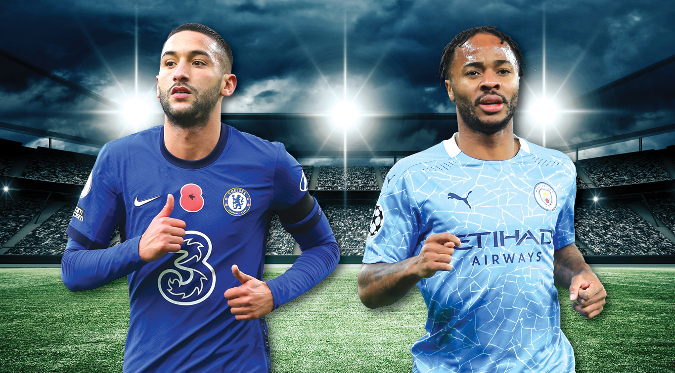 Hakim Ziyech and Raheem Sterling will aim to get their clubs back in contention for the league title