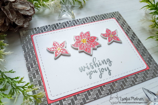 Poinsettia Christmas Card by Zsofia Molnar | Poinsettia Blooms Stamp Set by Newton's Nook Designs #newtonsnook #handmade
