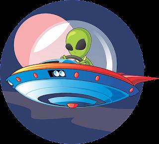 A cartoon of an alien piloting a flying saucer.