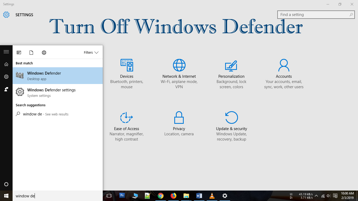 how to turn off windows defender in win 10