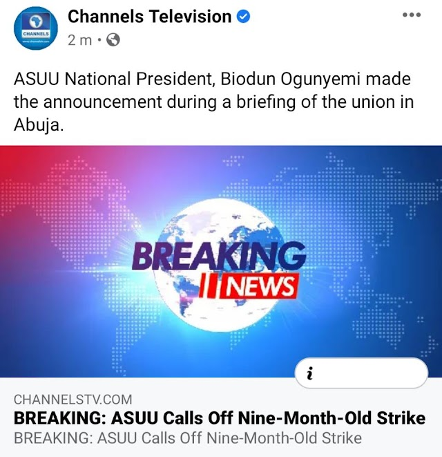 ASUU Suspend nine-month old Strike