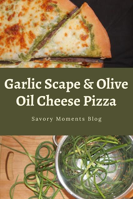 Garlic scape pizza slice and garlic scapes.