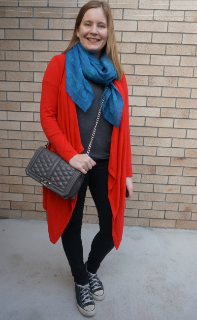 monochromatic grey tee black skinny jeans outfit with bright accessories red cardigan blue teal skull scarf RM love bag | away from blue
