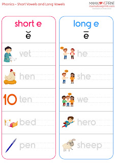 MamaLovePrint 自製工作紙 - Phonics Resources 英文拼音練習 Short and Long Vowels Phonics Kindergarten Printable Activities Free Download Daily Activities No Preparation