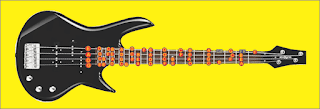 gambar posisi nada pada bas gitar elektrik