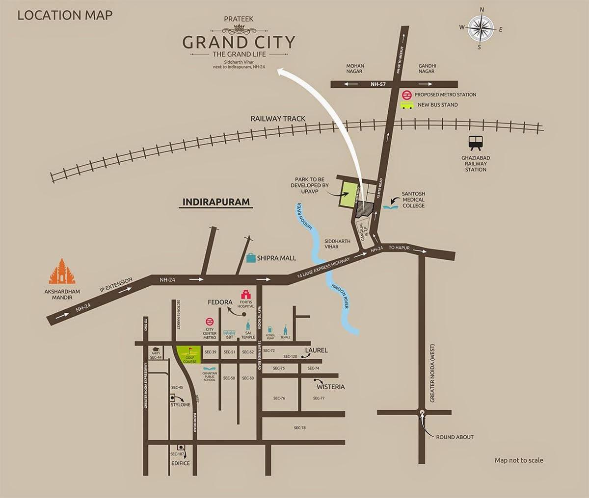 Prateek-Gran-City-location-map