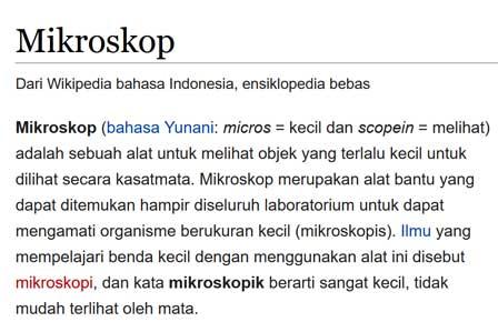 pengertian mikroskop diambil dari sumber wikipedia