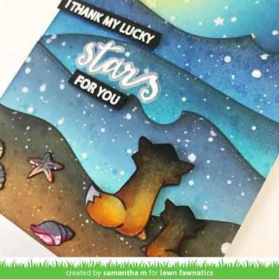 Thank My Lucky Stars for You Card by Samantha Mann, Lawn Fawnatics Challenge, Distress Inks, Ink Blending, Beach, Sunset, Cards, Card Making, Thank You Card, #lawnfawn #lawnfawnatics #cardmaking #thankyoucard #distressinks #inkblending