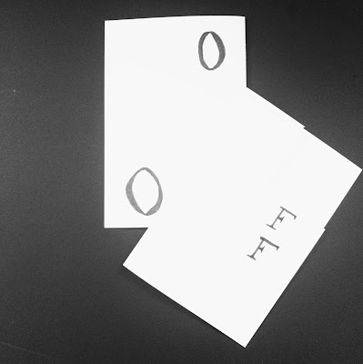 A bird's eye view of the On/Off artist book. The outside cover and inside pages with the letters O and F