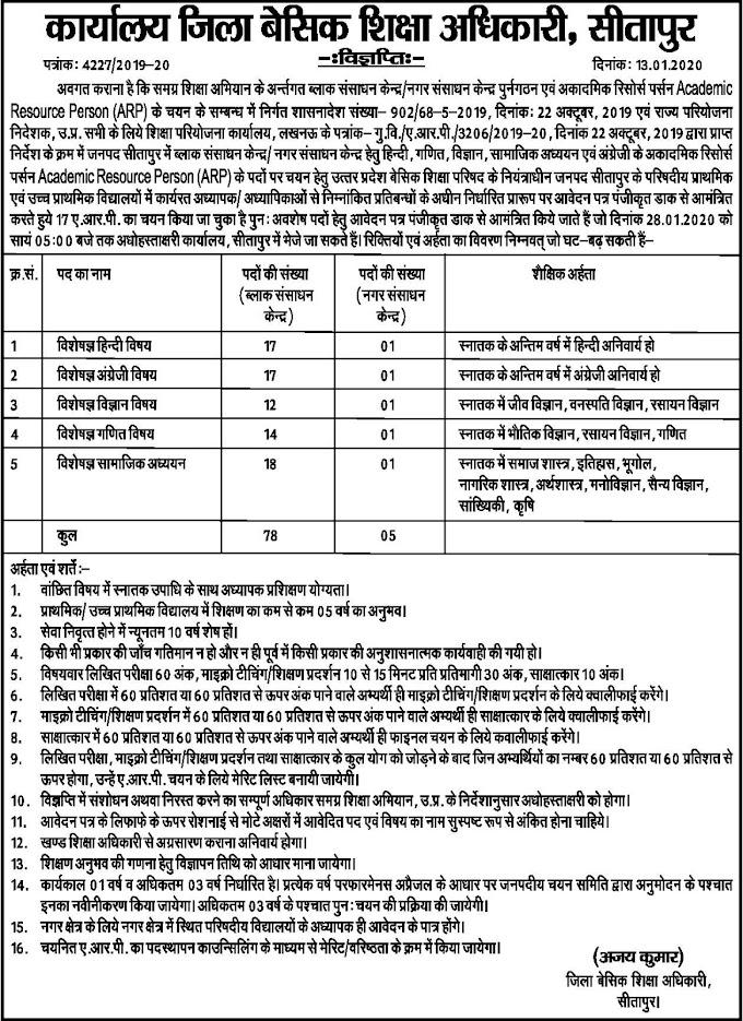 सीतापुर: अवशेष पदों पर ARP चयन के संबंध में विज्ञप्ति जारी