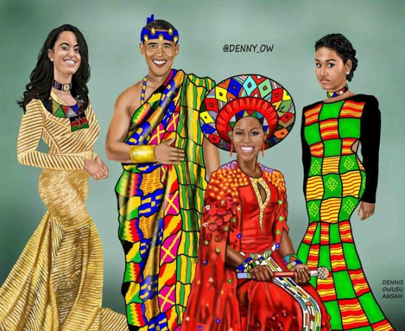 Beautiful colored drawing of the Obamas in African outfit