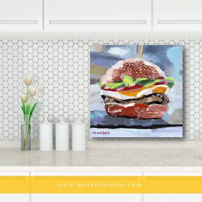 Cheeseburger food painting by artist Merrill Weber