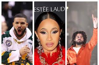 Drake, Cardi B & J. Cole.