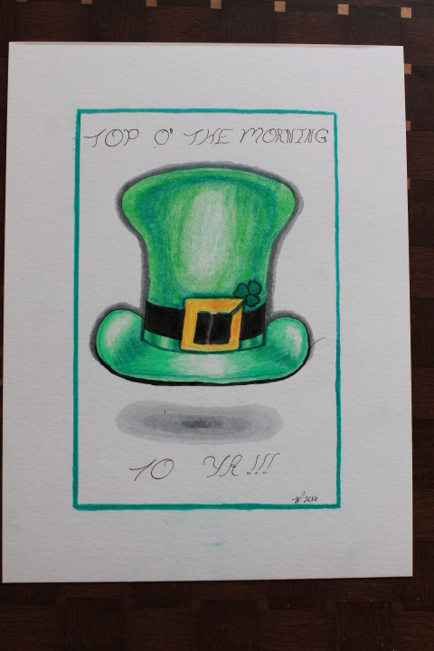 Drawing: leprechaun hat with shamrock