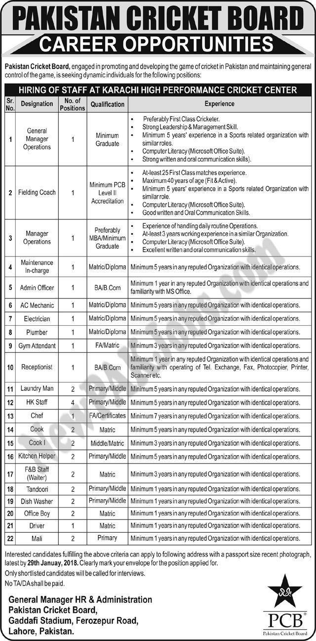 Multiple Jobs in Pakistan Cricket Board PCB Jan 2018