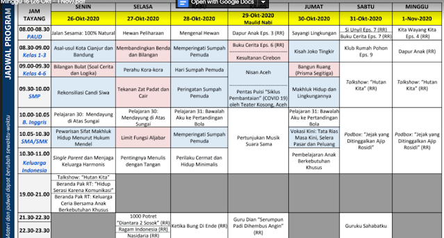 jadwal tayangan TVRI 26 oktober 2020