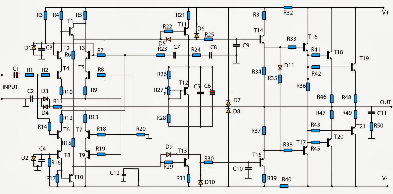 build a simple audio amplifier 2800w circuit diagram
