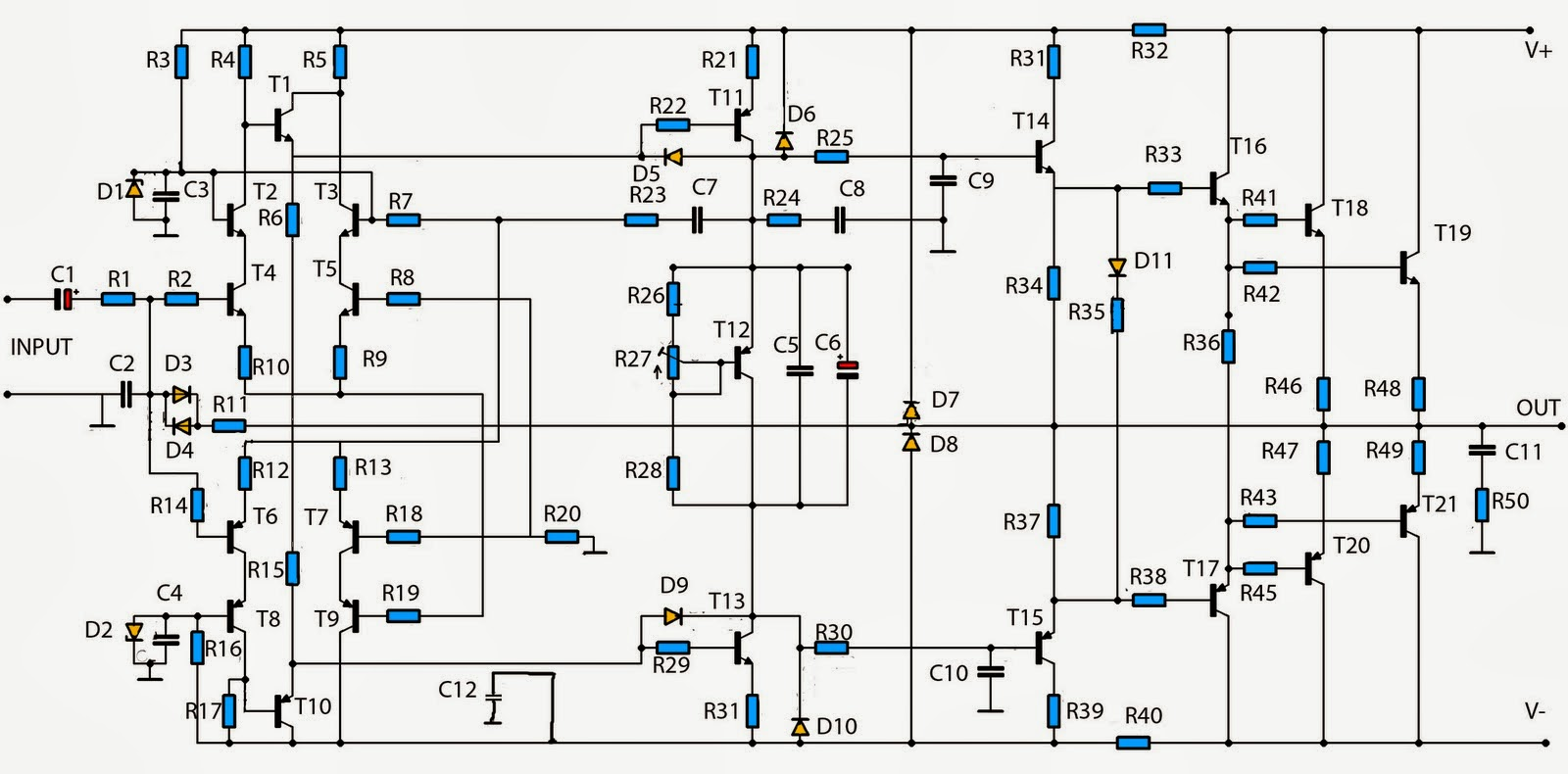Build a Simple Audio Amplifier 2800W Circuit Diagram | Electronic Circuits Diagram