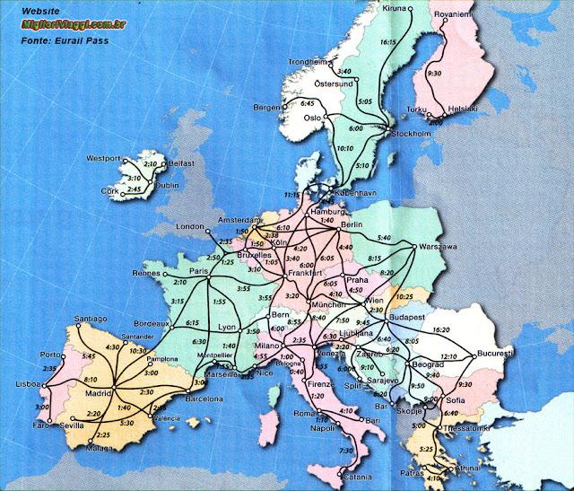 Mapa de duração de viagens e roteiros de trens na Europa