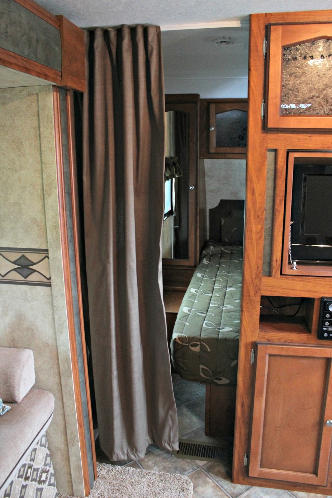 Travel Trailer Makeover Part 8 Master Bedroom And Privacy Curtains