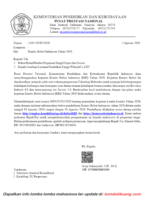 pembukaan pendaftaran kri daring 2020 1-18 agustus 2020 tomatalikuang.com