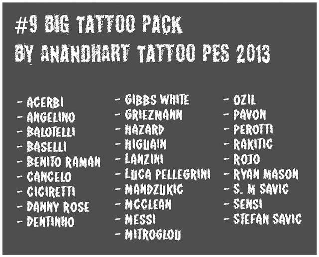 Big Tattoo Pack 2020 PES 2013
