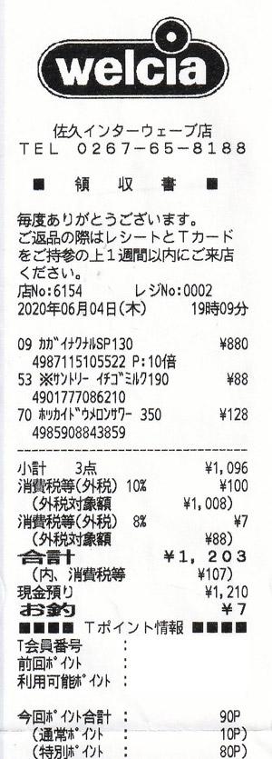 ウエルシア 佐久インターウェーブ店 2020/6/4 のレシート