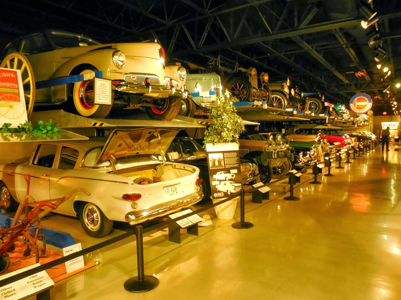 ... A Studebaker And Humvee Military Exhibit On The Right And Double Rack  Storage For Cars They Rotate Through The Upstairs Museums On The Left.