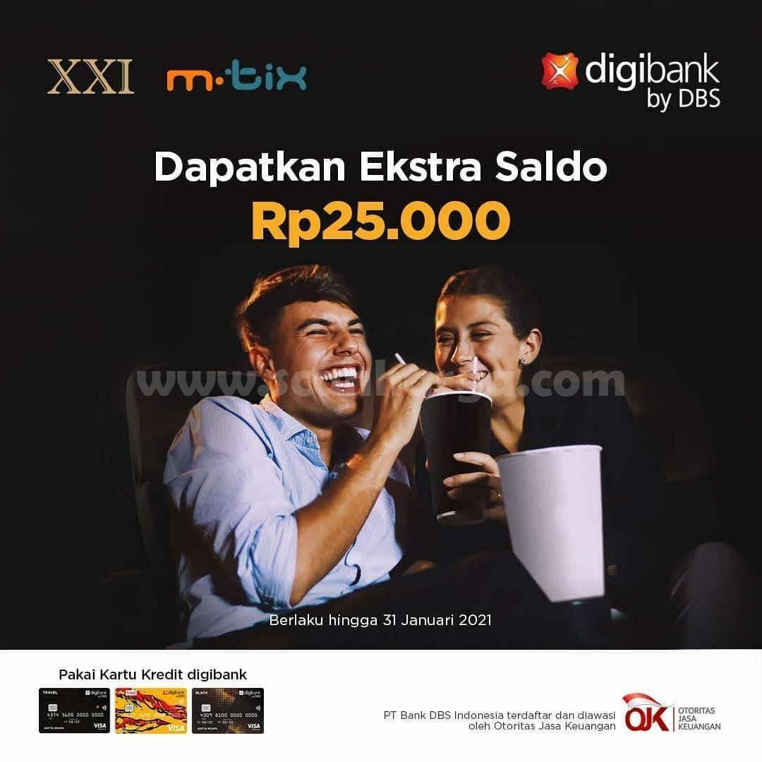 CINEMA XXI Promo TOP UP M-Tix! Bonus Saldo Rp 25.000 dengan Digibank