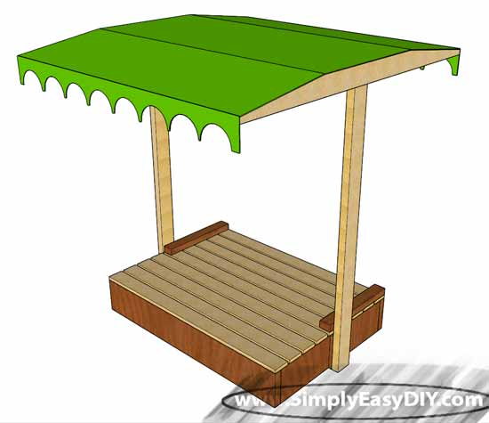 Covered Sandbox with Shade Canopy