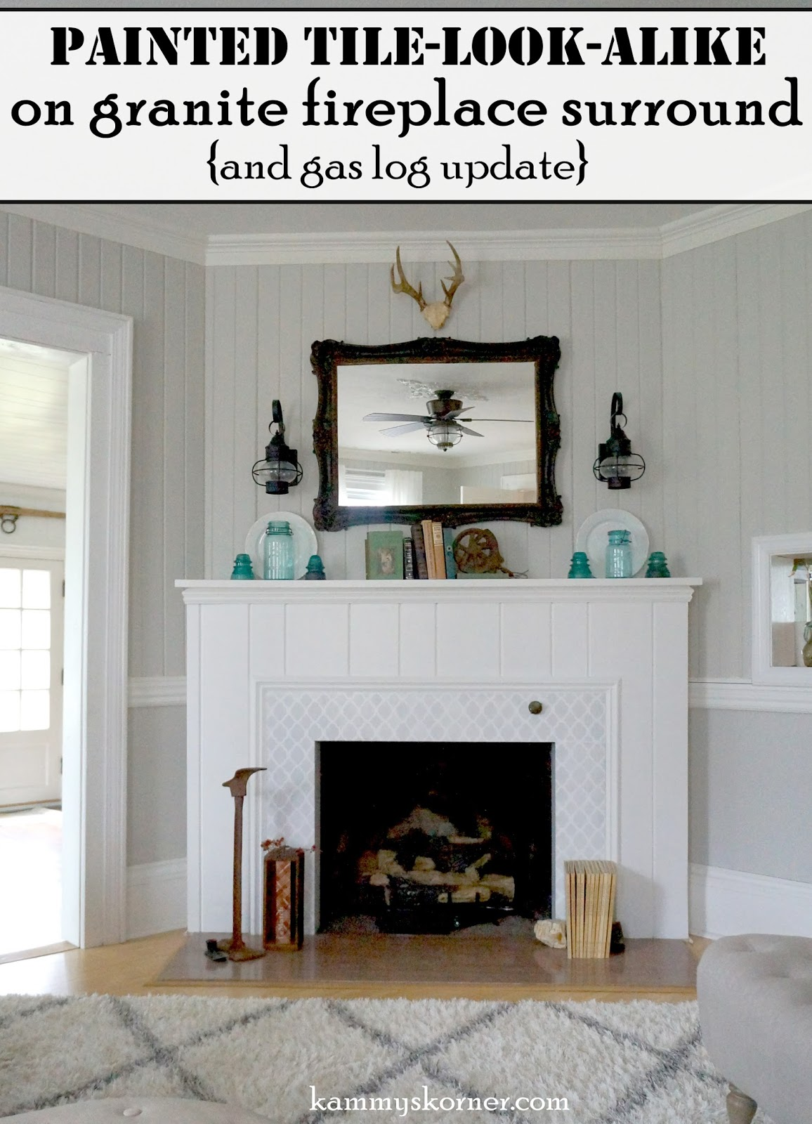 stenciled granite fireplace surround update
